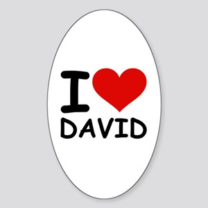 I LOVE DAVID Oval Sticker