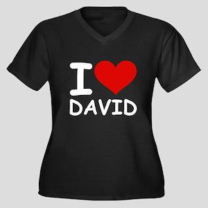 I LOVE DAVID Women's Plus Size V-Neck Dark T-Shirt