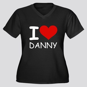 I LOVE DANNY Women's Plus Size V-Neck Dark T-Shirt