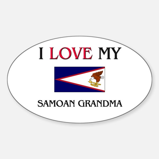 I Love My Samoan Grandma Oval Decal