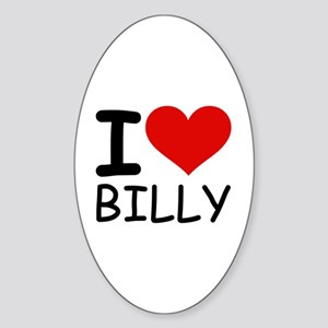 I LOVE BILLY Oval Sticker
