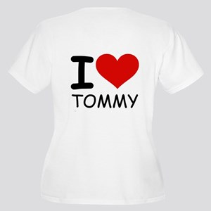 I LOVE TOMMY Women's Plus Size V-Neck T-Shirt