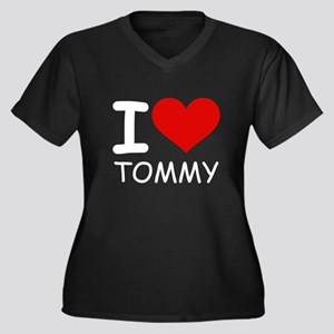 I LOVE TOMMY Women's Plus Size V-Neck Dark T-Shirt