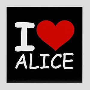 I LOVE ALICE (blk) Tile Coaster