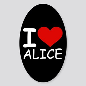 I LOVE ALICE (blk) Oval Sticker