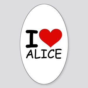 I LOVE ALICE Oval Sticker