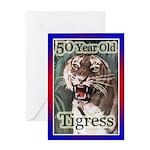 50th Birthday Gifts, Tigress Greeting Card