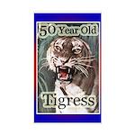 50th Birthday Gifts, Tigress Rectangle Sticker