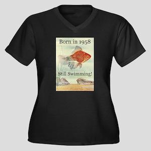 50th Women's Plus Size V-Neck Dark T-Shirt