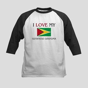 I Love My Guyanese Grandma Kids Baseball Jersey