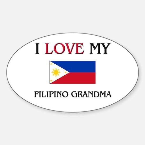 I Love My Filipino Grandma Oval Decal