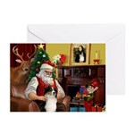 Santa's Aussie Shepherd Greeting Cards (Pk of 10)