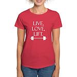 Live, Love, Lift (white text) Women's Dark T-Shirt