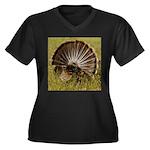 Turkey Fan Women's Plus Size V-Neck Dark T-Shirt
