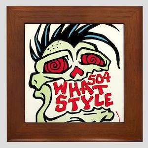 504 WHAT STYLE MOHAWK SKULL Framed Tile