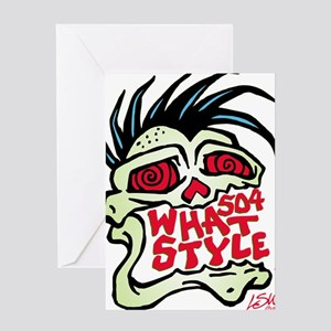 504 WHAT STYLE MOHAWK SKULL Greeting Card