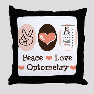Peace Love Optometry Eye Chart Throw Pillow