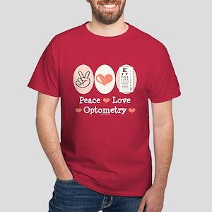 Peace Love Optometry Eye Chart Dark T-Shirt