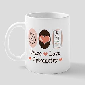 Peace Love Optometry Eye Chart Mug