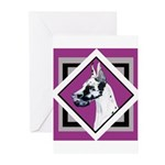Harlequin Great Dane design Greeting Cards (Pk of