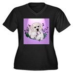 Great Pyranees Pup Women's Plus Size V-Neck Dark T
