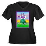 Hula Bulldog Women's Plus Size V-Neck Dark T-Shirt