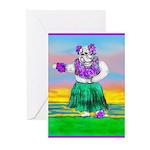 Hula Bulldog Greeting Cards (Pk of 20)