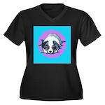 Australian Shepherd Puppy Women's Plus Size V-Neck