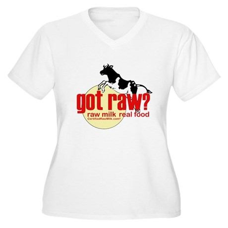 Raw Milk, Real Food Women's Plus Size V-Neck T-Shi