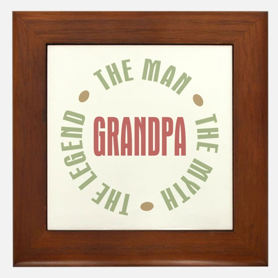 Grandpa Man Myth Legend Framed Tile