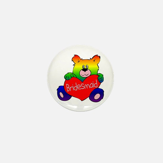 Bridesmaid Rainbow Bear Mini Button
