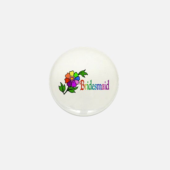 Rainbow Flower Bridesmaid Mini Button