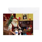 Santas 2 Aussie Sheps Greeting Cards (Pk of 10)
