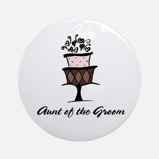 Aunt of the Groom Pink Cake Ornament (Round)