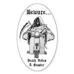 Death Rides A Scooter Oval Sticker