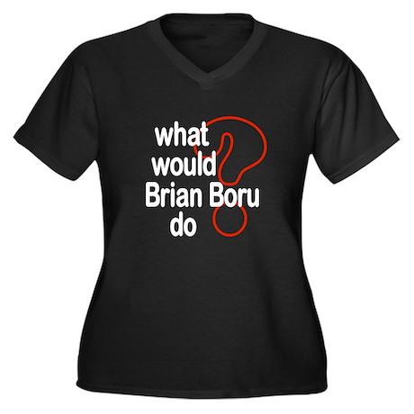 Brian Boru Women's Plus Size V-Neck Dark T-Shirt