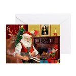 Santa's Ital.Greyt (6) Greeting Cards (Pk of 10)