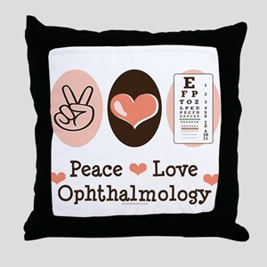 Peace Love Ophthalmology Throw Pillow