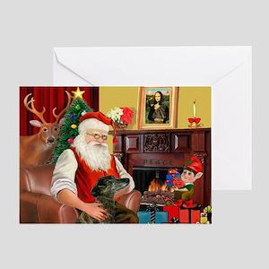 Santa's Greyhound(brin) Greeting Card