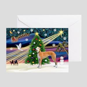XmasMagic/Greyhound (rd) Greeting Card
