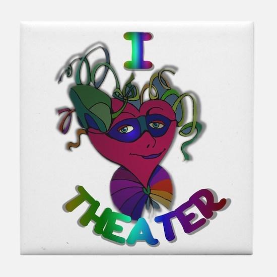 Cute I Love Theater Tile Coaster