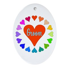 Rainbow Hearts Groom Ornament (Oval)