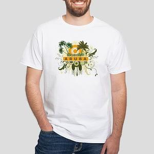 Palm Tree Aruba White T-Shirt