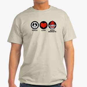 Peace Love Sock Monkeys Light T-Shirt