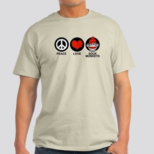 Peace Love Sock Monkeys Light T-Shirt