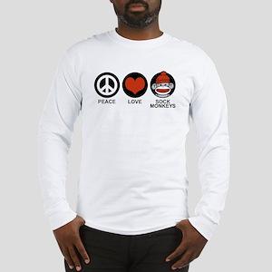 Peace Love Sock Monkeys Long Sleeve T-Shirt