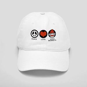 Peace Love Sock Monkeys Cap