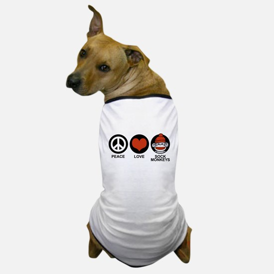 Peace Love Sock Monkeys Dog T-Shirt