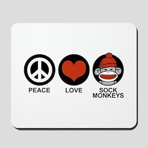 Peace Love Sock Monkeys Mousepad