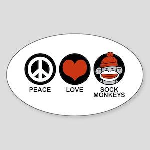Peace Love Sock Monkeys Oval Sticker